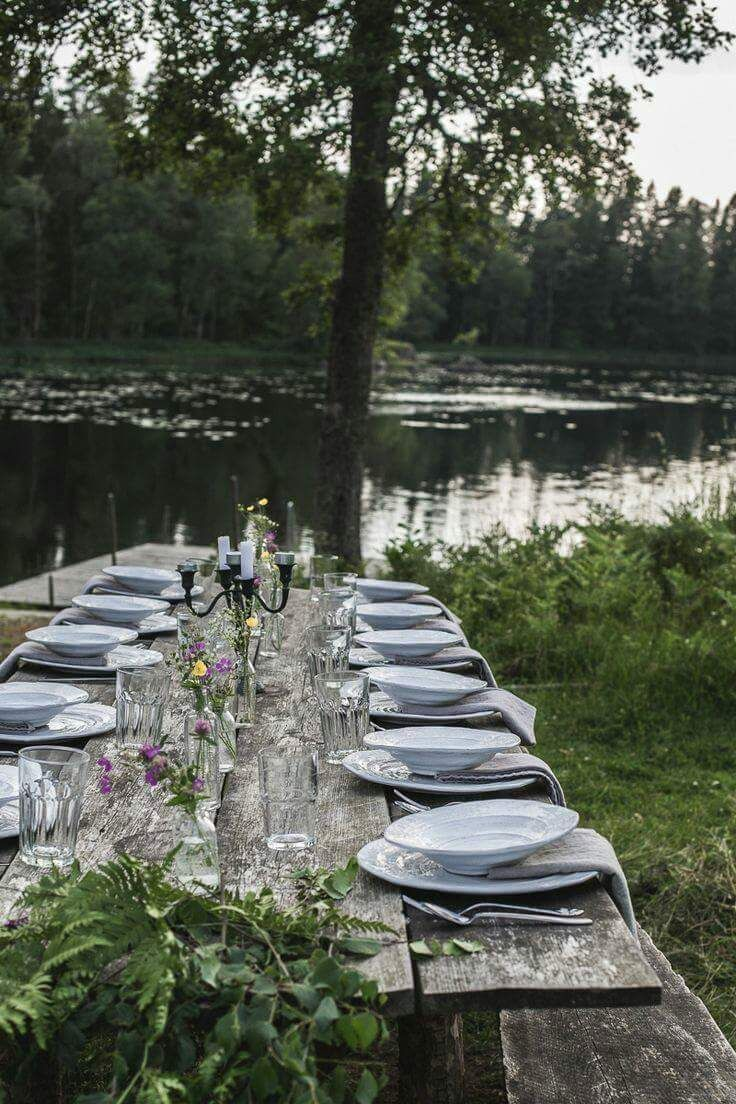 Rustic lakeside dining for a lakehouse party.