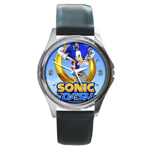 Sonic Dash logo design round metal watches by awrelieaccessories