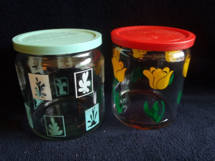 Food Glass Containers with Lids   Set of 2 Handi Saver Red and Turquoise On Sale  #vintage