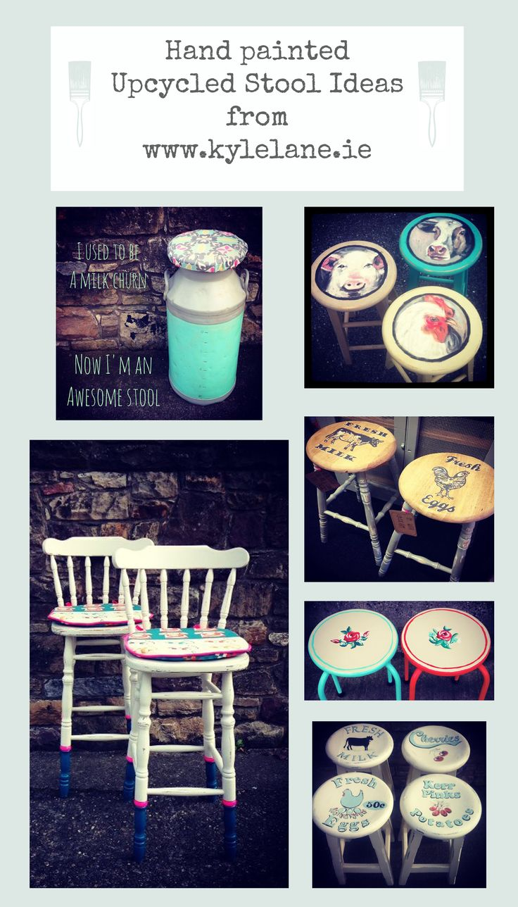 Upcycled hand painted stools ideas #upcycled #upcycle #paintedstools #diy