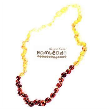 This premium amber necklace comes in a rainbow pattern of rounded amber beads. Amber beads are finished in a polish compared to the standard bud range. The amber necklace is approx 50 cm in length. The amber necklace comes together with a plastic screw clasp.     While Bambeado amber comes in several colours, the colour is just a matter of personal choice.
