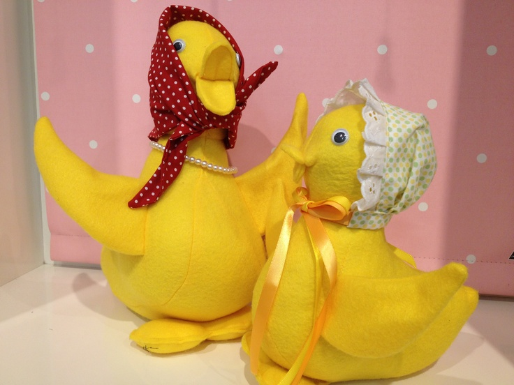 Stuffed felt ducks mother and daughter.