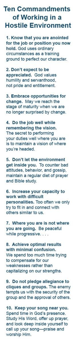 Ten Commandments for ANY work environment, not just a hostile work environment.