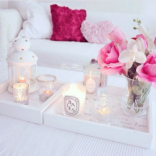 white and pink decor