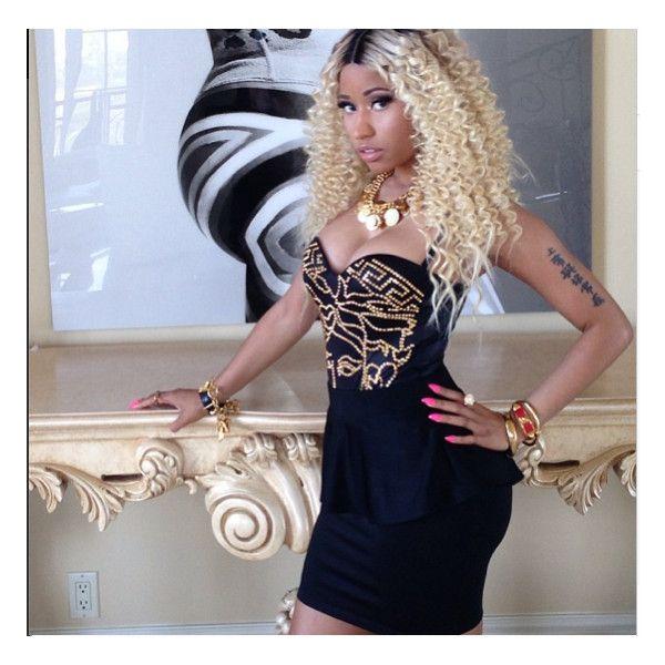 Splurge: Nicki Minaj's Love More Video Versace Studded Medusa Bathing... ❤ liked on Polyvore featuring nicki minaj, pictures, nicki, people and pics