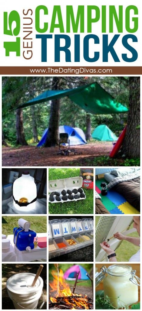Genius camping hacks. Pinning for later, don't want to lose these!