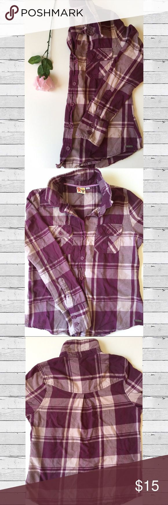  Roxy Shades of Purple Plaid Button-up Shirt Roxy button-up plaid shirt featuring various shades of purple.   Elements: Double button cuffs Button on sleeve for cuff to roll up 2 button flap breast pockets Pleating detail in upper back  Flattering shirt! Roxy Tops Button Down Shirts