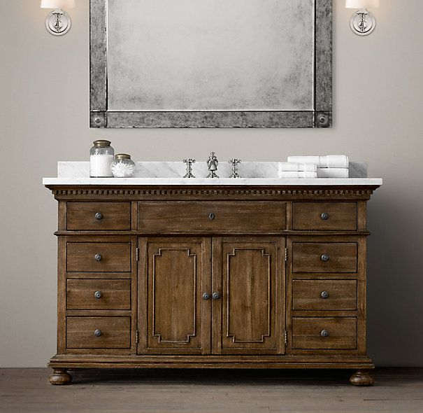 St james extra wide single vanity sink vanity sink with for Restoration hardware vanities bath