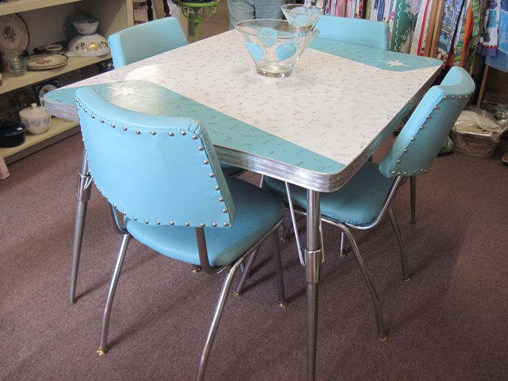 We found this great 1950's formica and chrome  set at an estate sale.  I really liked the atomic look of the table top.  The original vinyl on the chairs was a green and blue floral pattern which w...