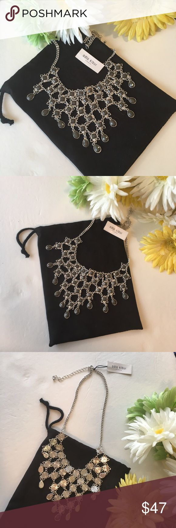 Adia Kibur Boho Chic Statement Necklace! Beautiful statement necklace bib in silver & grey stones. Comes with extension. NWT.❌trades❌ Adia Kibur Jewelry Necklaces