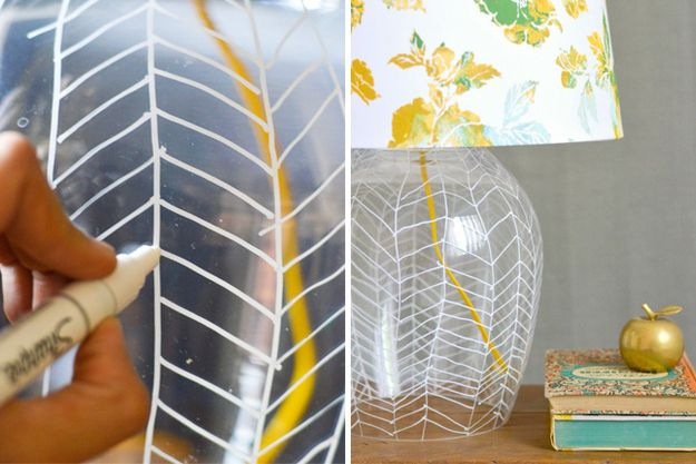 Draw directly on your lamp with sharpie to create a harringbone design. | 27 DIY Ways To Give Your House A Quick Pick-Me-Up