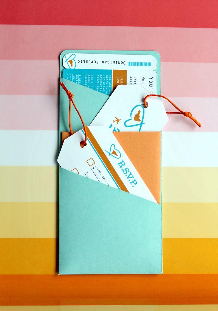 Boarding Pass Invitations: Katie Hinks Design #wedding #boardingpass #invitations