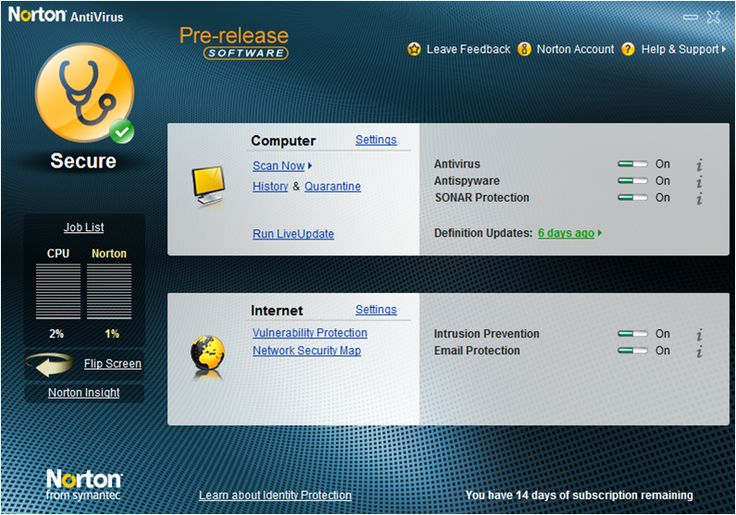 Norton Antivirus stops viruses, worms, spyware, bots, and more - Keeps your system protected against all types of malicious threats. Norton Insight delivers innovative intelligence-driven technology for faster, fewer, shorter scans. Rapid pulse updates every 5 to 15 minutes provide you with up-to-the-minute protection.