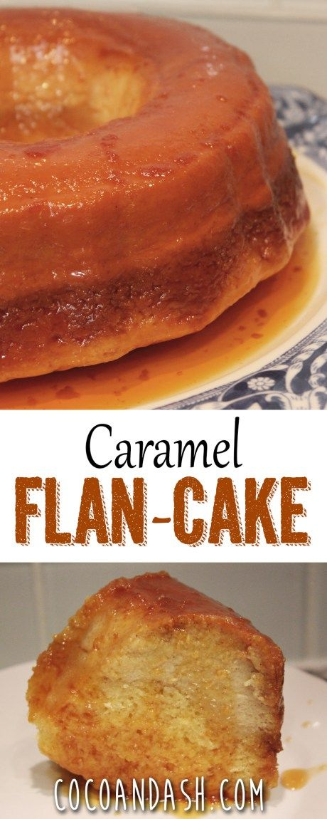This flan cake is SO moist and full of vanilla caramel flavor! It's the perfect dessert! Flan cake