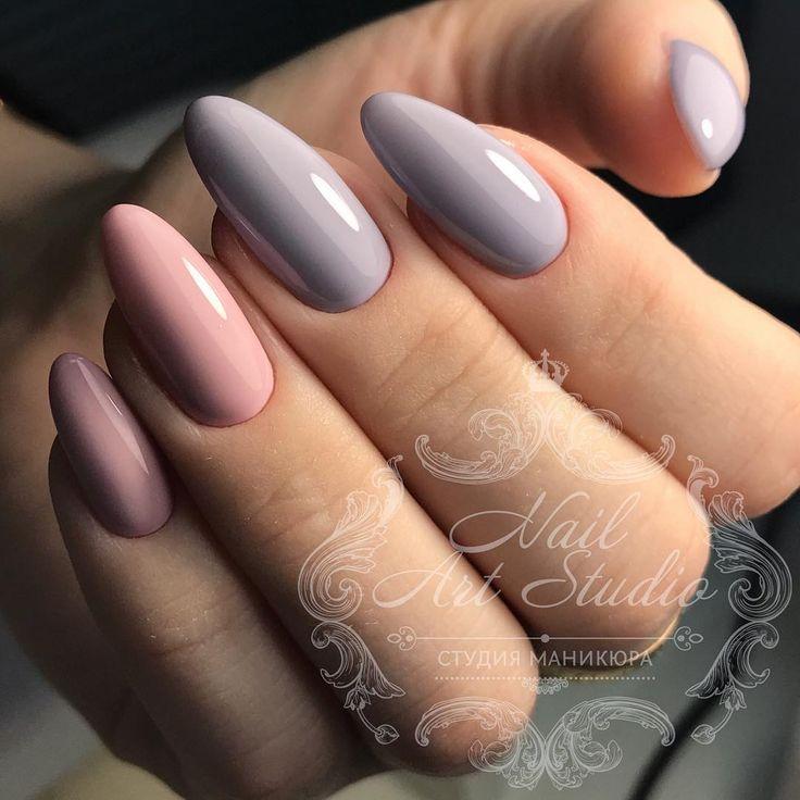 pastel nails, almond shaped nails