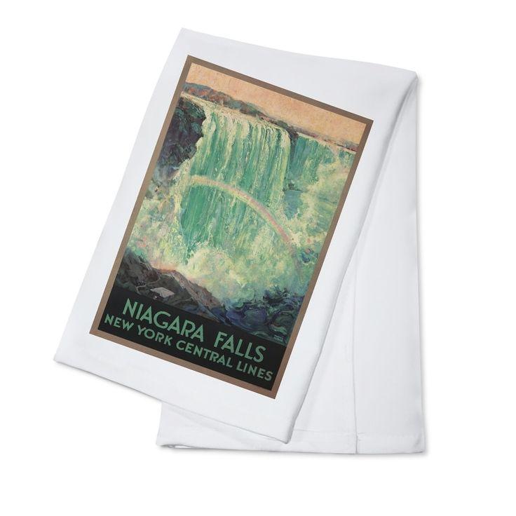 Niagara Falls NY Central Lines (Madan) Vintage Ad (100% Cotton Towel Absorbent), Blue wash