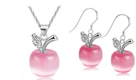 Free Shipping New Perfect Opals /925 Sterling Silver Apple Pendant Necklace/Earrings Jewelry Set With Rhinestone Nickel Free  281,06 руб.