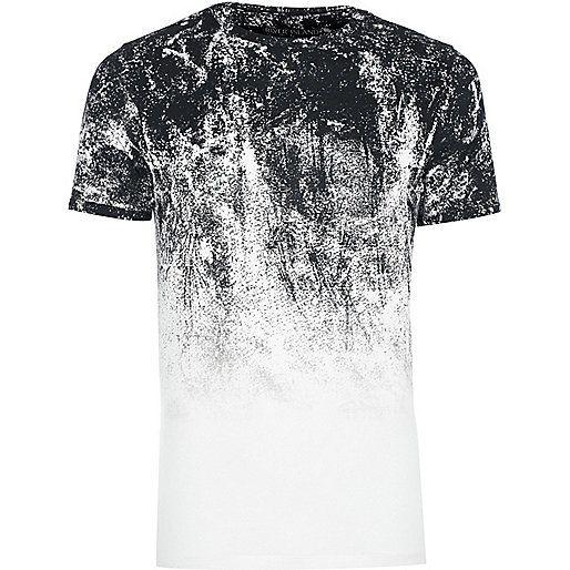 Big and Tall white glitch fade T-shirt - print t-shirts - t-shirts / vests - men