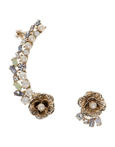 """<ul><li>Chic earrings with an elegant flower stud and crawler</li> <li>5MM simulated pearl</li> <li>Czech glass</li> <li>Metal</li> <li>Length of crawler, about 2""""</li> <li>Stud drop, about 0.5""""</li> <li>Post back closure</li> <li>Imported</li></ul>"""