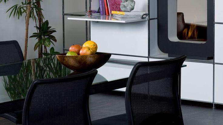 besprechungstisch konferenztisch esszimmertisch mit glasplatte klapptuere metall schrankwand. Black Bedroom Furniture Sets. Home Design Ideas