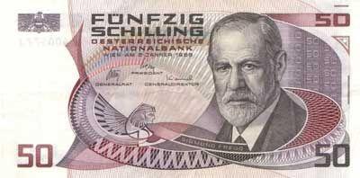 50 Schilling Sigmund Freud obverse - ジークムント・フロイト - Wikipedia