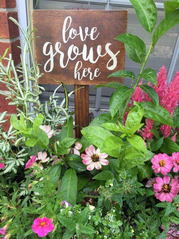 Garden Sign Love Grows Here Wooden Garden Sign Etsy Garden Signs Diy Garden Signs Spring Garden