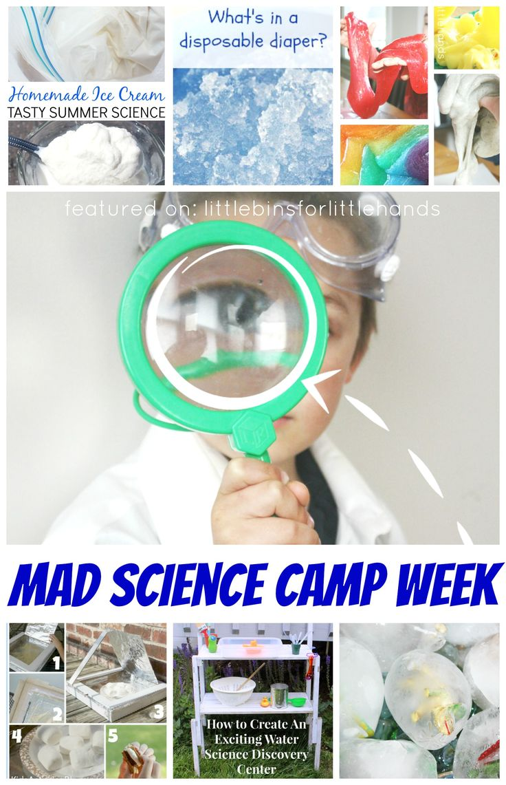 Enjoy a week of science camp this summer or anytime! A whole resource of experiments, projects, games, and activities for young mad scientists!