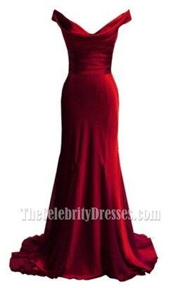 Elegant Red Off-the-shoulder Prom Dress Evening Formal Dresses - TheCelebrityDresses