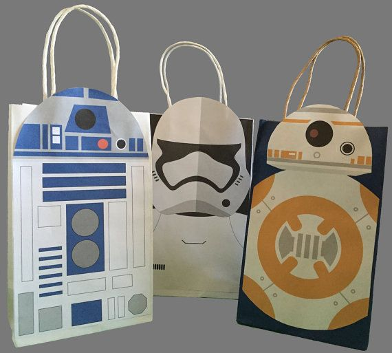 Star Wars R2D2, BB8, & Stormtrooper Party Favor Bag Printables, Star Wars Birthday Party Goodie Bag, Star Wars Party Favor