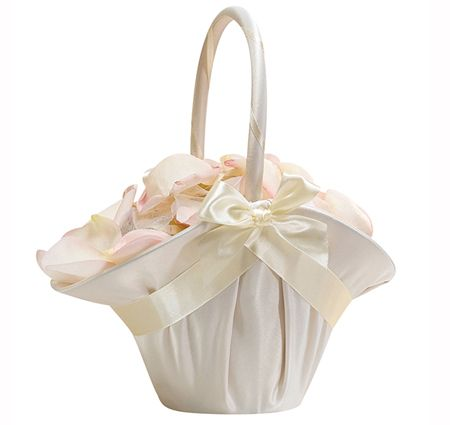 Satin Flower Girl Basket by Lillian Rose from the Wedding Outlet Item No. LR-FB403 for $15.00. This is for the older flower girl.