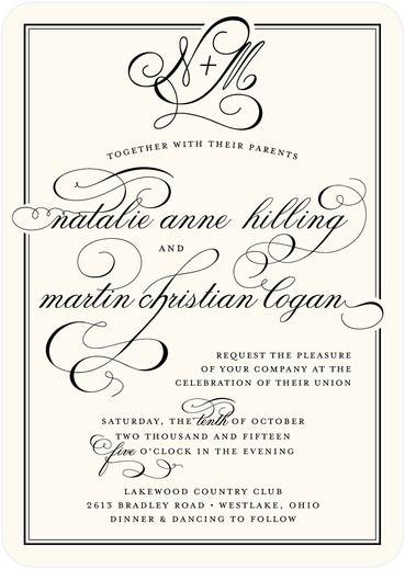 Pleasant Match - Signature Custom Wedding Invitations - Sarah Hawkins Designs - Pearl - White : Front