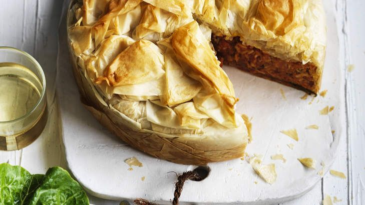 Rich layers: Pumpkin, carrot, rice and dill filo pie.