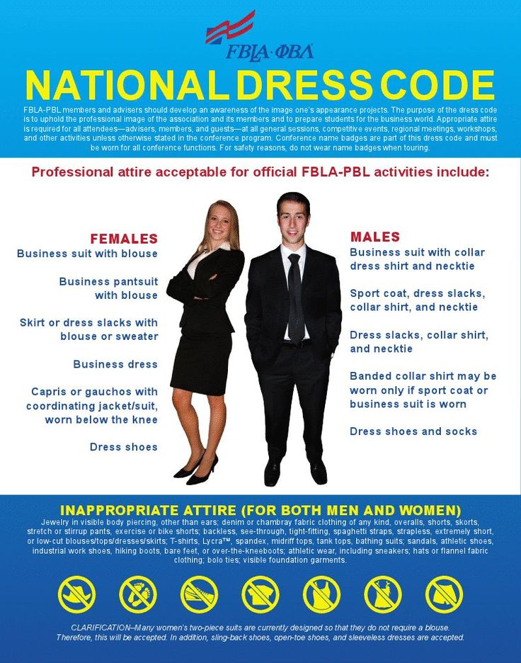I have this FBLA dress code graphic in my room. It's nice and simple.