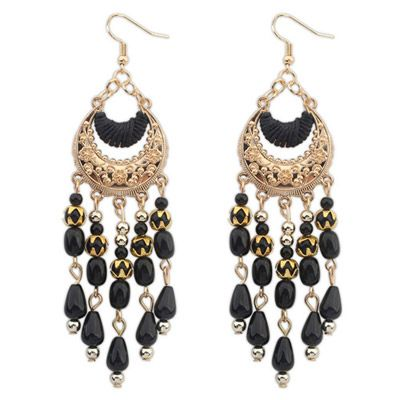 Homecoming Black Tassel Decorated Crescent Shape Design Alloy Korean #Earrings  www.asujewelry.com