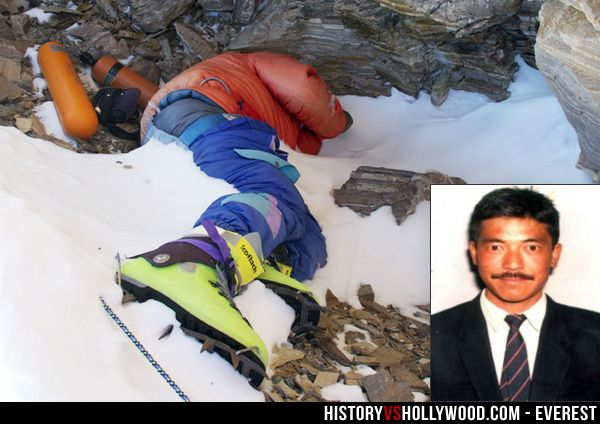 The Everest corpse known as Green Boots is believed to be Tsewang Paljor, who died in the 1996 Mount Everest disaster chronicled in the 2015 Mt. Everest movie. See more pics: http://www.historyvshollywood.com/reelfaces/everest/