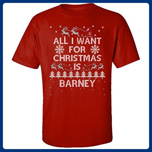 All I Want For Christmas Is Barney Ugly Sweater - Adult Shirt M Red - Holiday and seasonal shirts (*Amazon Partner-Link)