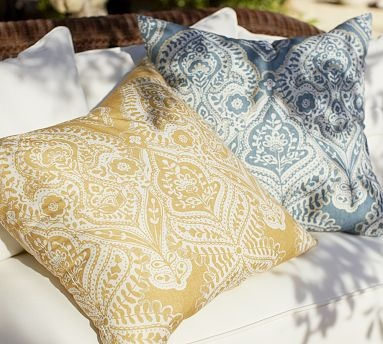 Use these gorgeous outdoor pillows indoors too. Since they won't fade in the sun. they're perfect for beach houses with lots of windows!