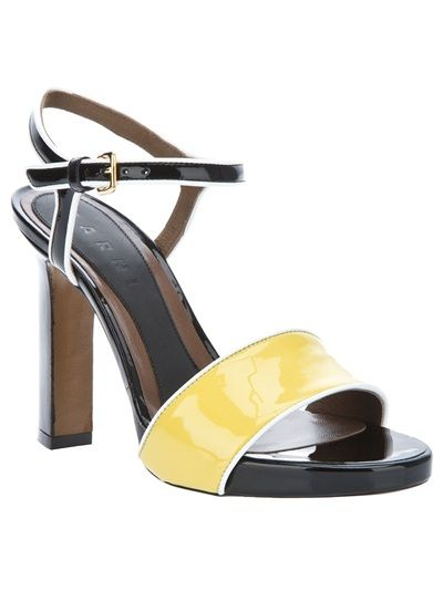 Marni Yellow and Black Patent Sandals Available from Changing Room on Far Fetch.