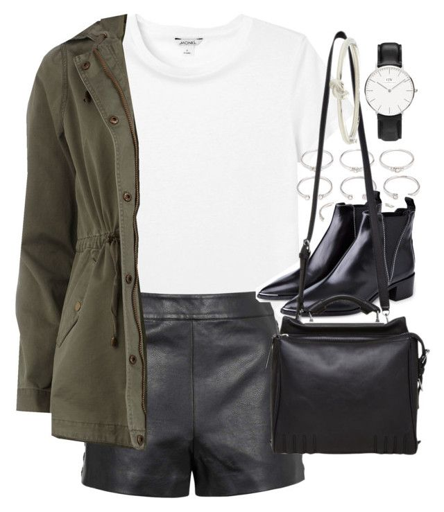 """""""Outfit for autumn with leather shorts and a Daniel Wellington watch"""" by ferned on Polyvore featuring Monki, Forever 21, Topshop, Dorothy Perkins, Acne Studios, 3.1 Phillip Lim and Kate Spade"""