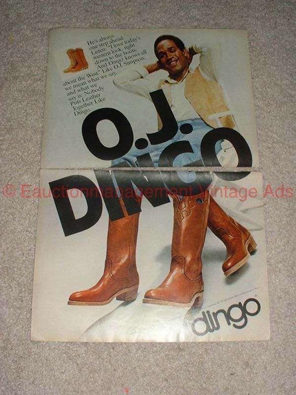1979 Dingo Boots Boot 2 Page Ad W O J Simpson Dingo Boots