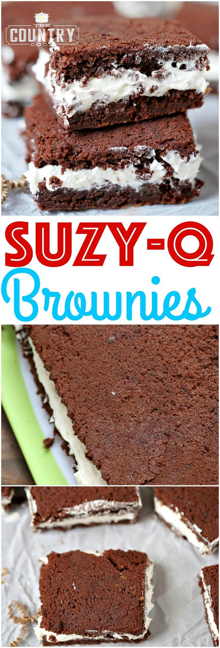 Suzy-Q Brownies is just like those favorite Hostess treats - only better. The creamy marshmallow filling is amazing! So good!