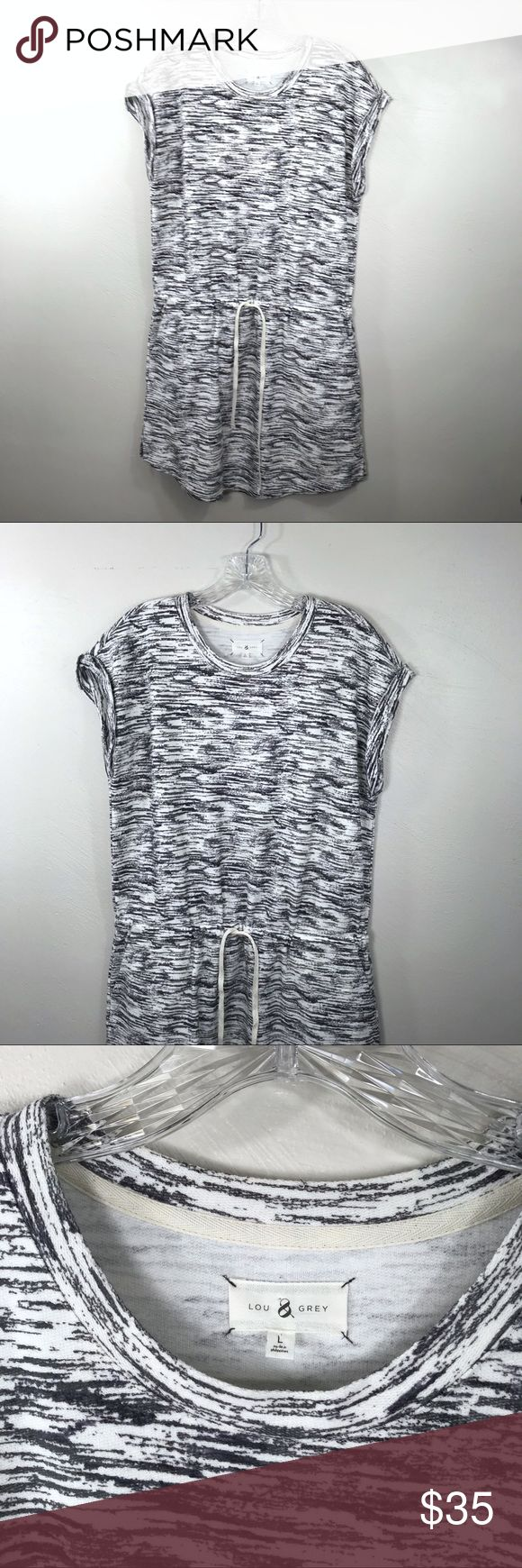 "Lou & Grey Dress Brand: Lou & grey Description: Short sleeve sweatshirt dress with a drawstring and pockets Color: Cream and gray Material: 100% cotton Size: Large Chest Measurement: 21.25"" across laying flat Length: 36.5"" from shoulder to hem Condition: Excellent Lou & Grey Dresses Mini"