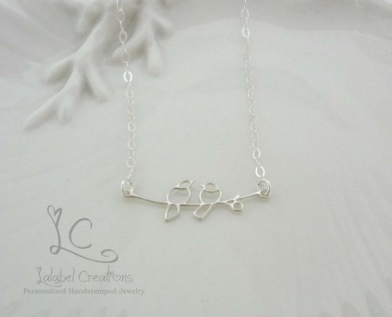 Minimalist Jewelry Love Birds on a Branch by LalabelCreations