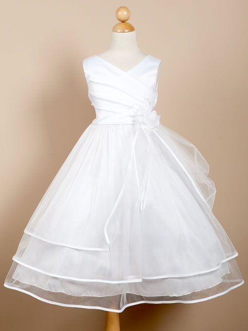 3-Tiered V-Neck Ruched Bodice First Communion Dress - LDS Baptism Gowns for Girls