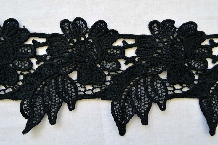 Black Lace, BK006, a embroidered floral thick lace,  uneven edges, 9cm wide. by TheQuiltedCheese on Etsy