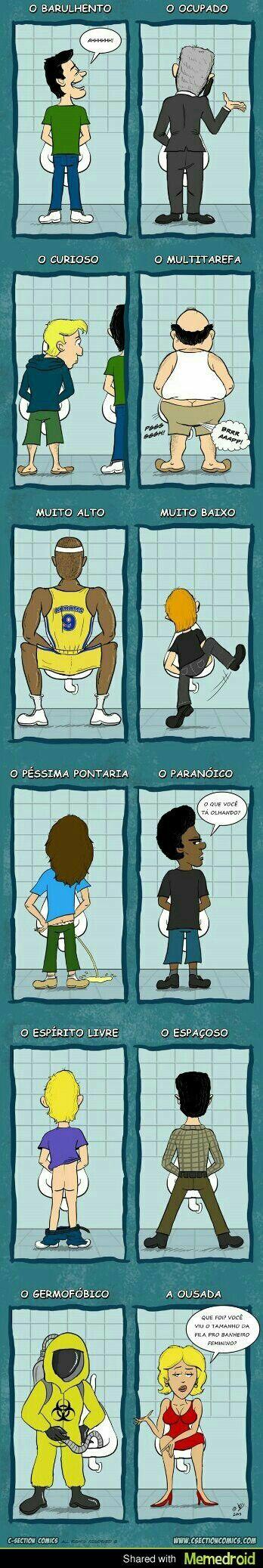 Tipos de pessoas no banheiro