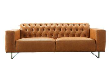 3-sitssoffa i återvunnet skinn och metallben