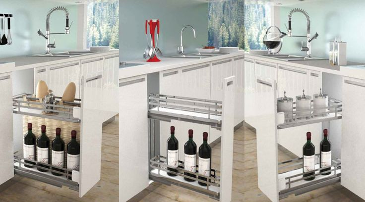 Pull-out System from Franci Furniture Fittings. Italian craftsmanship, German engineering in a South African setting. The Sige pull-out system allows for maximum storage for any kitchen that needs a special flair.