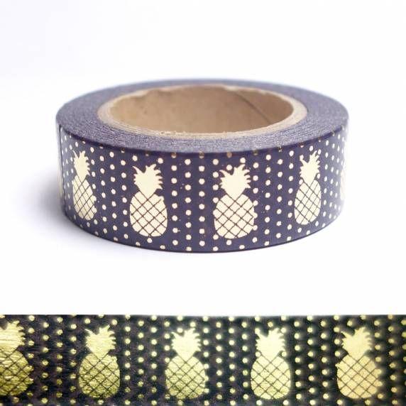 Masking tape ananas dorés sur fond noir