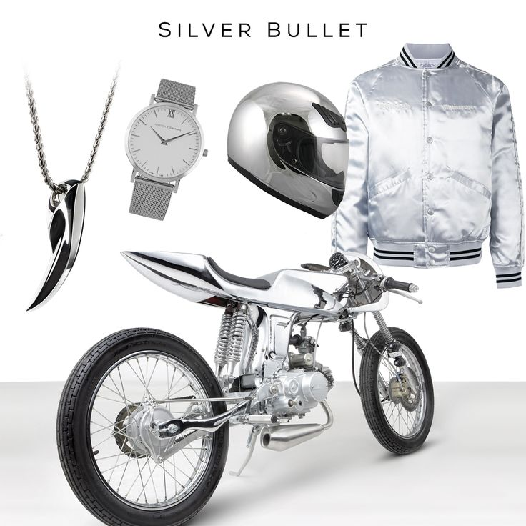 Silver Bullet Style SetClockwise: Chrome Helmet by HAWK, Bomber jacket by NEIGHBORHOOD, Ava motorcycle by BANDIT9, Fenrir pendant by @svorndesign, Lugano stainless-steel watch by LARSSON & JENNINGS /#edc #motorcycle #silver #pendant #mensjewelry #watch #mensaccessories #mensfashion #mensstyle #style #badass #luxury #design